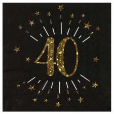 Serviettes en papier pour anniversaire 40 ans thème noir et or