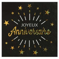 Serviettes joyeux anniversaire en papier noires et dorées