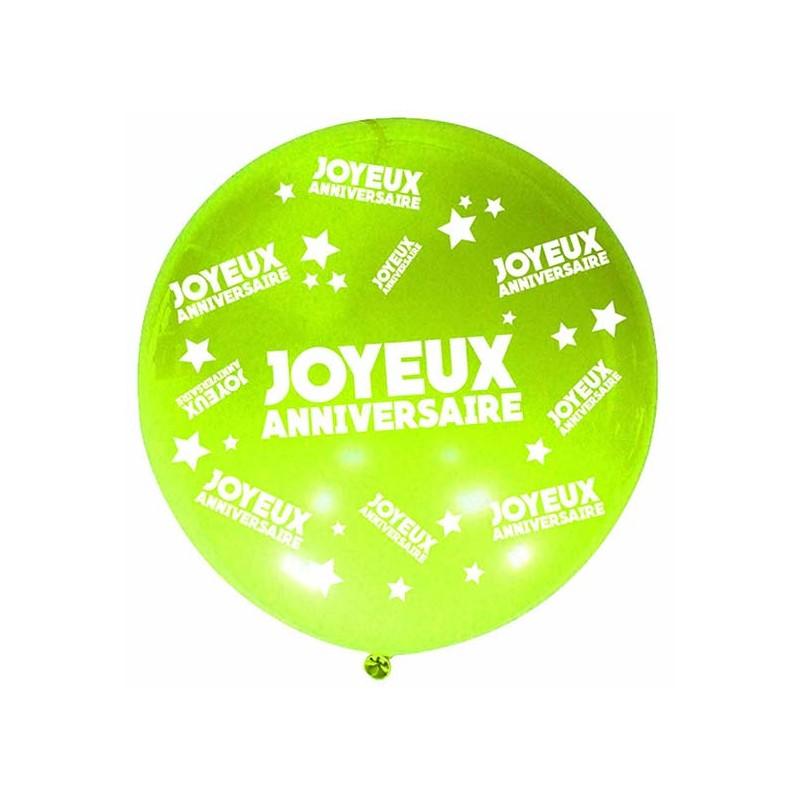 Ballon joyeux anniversaire géant vert