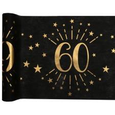 Chemin de table anniversaire 60 ans noir et or de 5 mètres