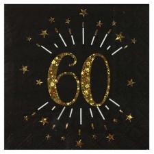 Serviettes pour anniversaire 60 ans noires et dorés