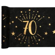 Chemin de table pour anniversaire 70 ans noir et or de 5 mètres