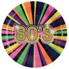 Assiettes décoratives en carton sur les années 80 pour soirée à thème