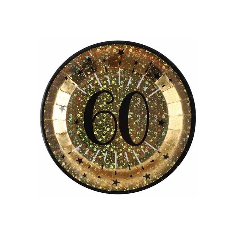 Assiettes anniversaire en carton 60 ans dorées et noires