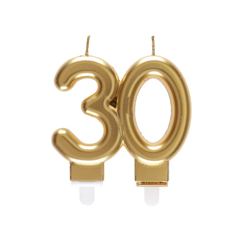 Bougie dorée pour anniversaire 30 ans