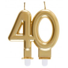 Bougie pour anniversaire 40 ans couleur or