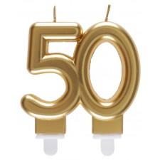 Bougie 50 ans dorée pour anniversaire ou noces d'or