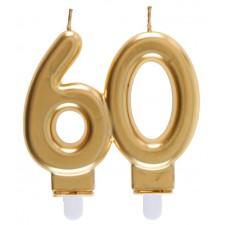 Bougie pour anniversaire 60 ans couleur or