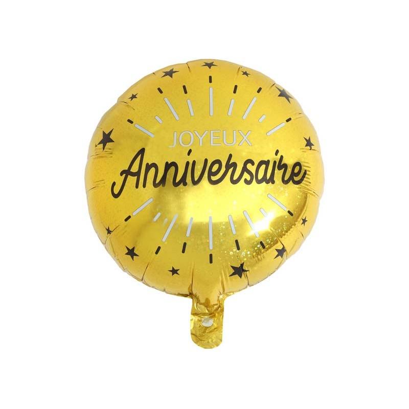 Ballon joyeux anniversaire mylar couleur or