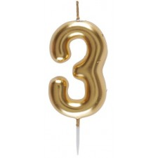 Petite bougie dorée en forme de chiffre 3