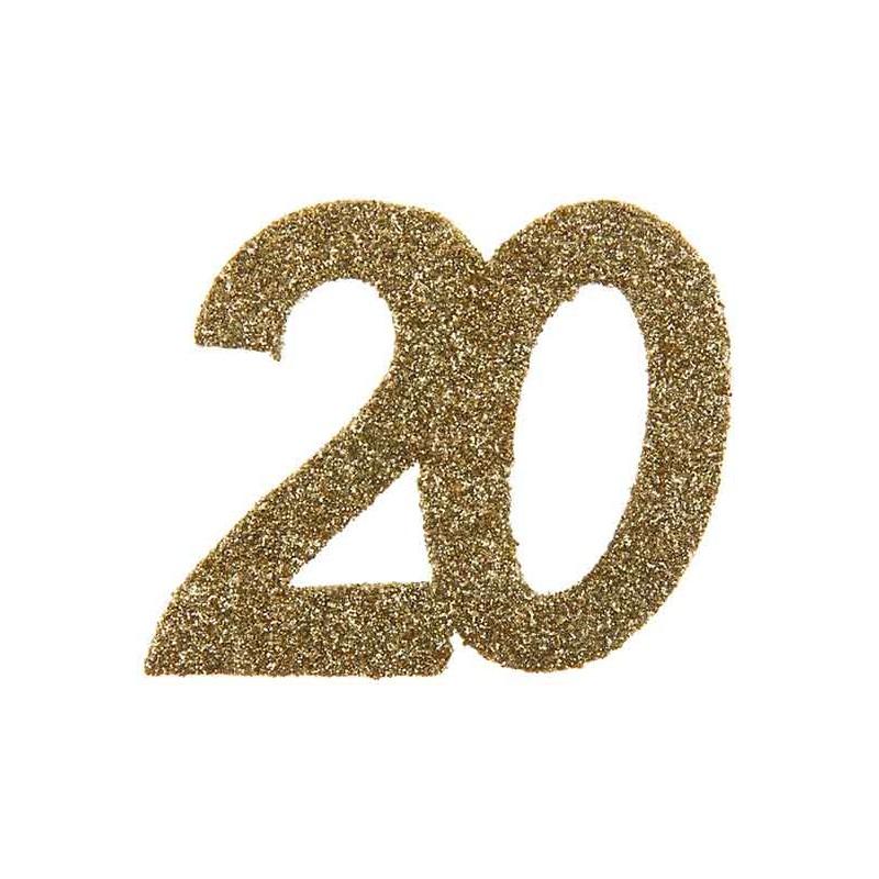 Confettis 20 ans dorés pour table d'anniversaire