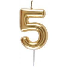 Bougie en forme de chiffre 5 couleur or