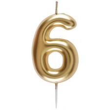 Bougie d'anniversaire en forme de chiffre 6 couleur or