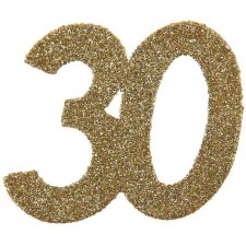 Confettis pour table d'anniversaire 30 ans couleur or