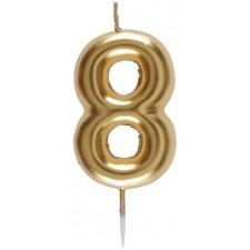 Bougie en forme de chiffre 8 couleur or