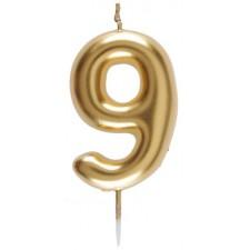 Bougie en forme de chiffre 9 dorée pour anniversaire