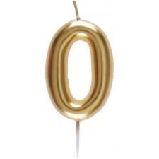 Bougie en forme de chiffre zéro couleur or