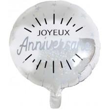 Ballon mylar anniversaire argent gonflable à l'hélium