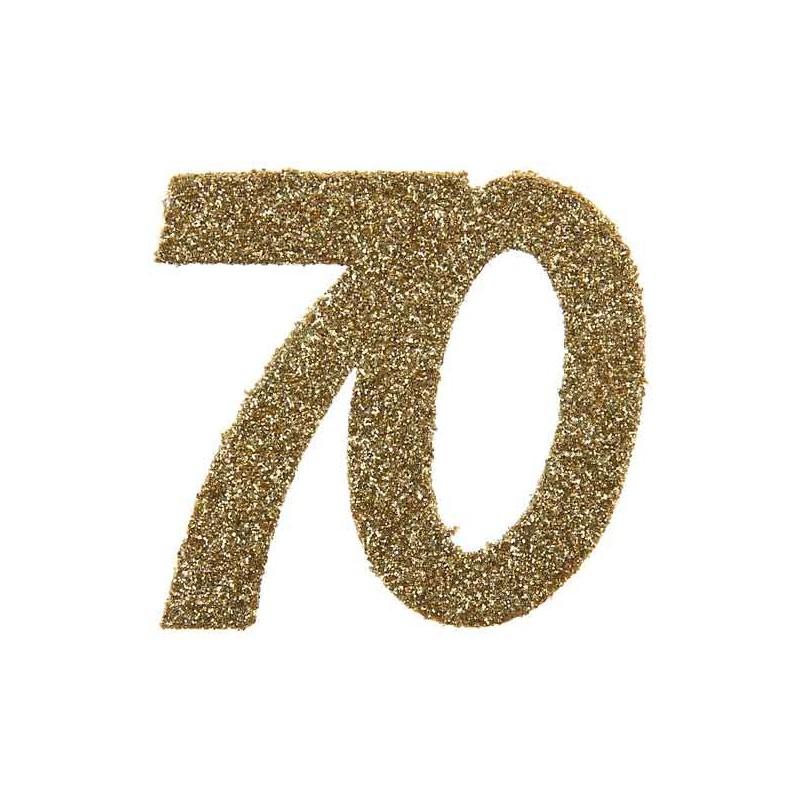 Confettis de table anniversaire pour les 70 ans couleur or