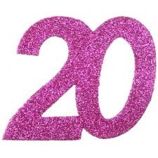 Confettis pour table d'anniversaire 20 ans roses