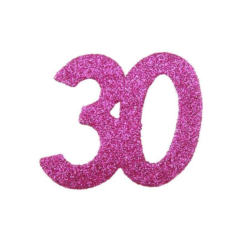 Confettis de Table 30 ans Rose Géant