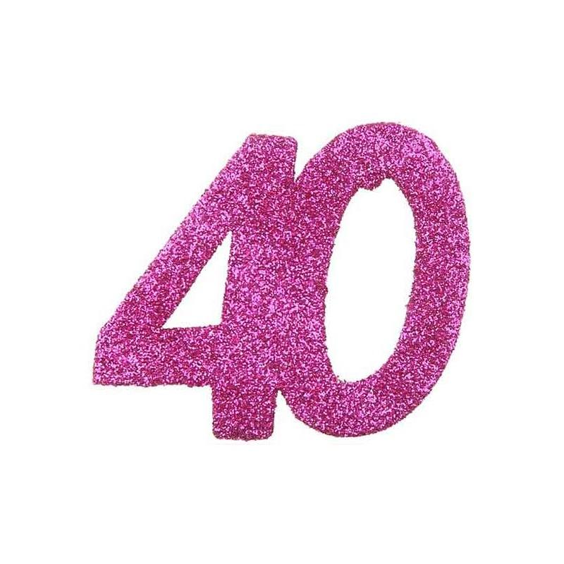 Confettis de Table 40 ans Rose Géant
