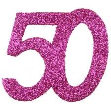Confettis pour table d'anniversaire roses 50 ans