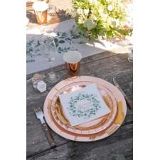 Assiettes de table rose gold pour fête de Noël, réveillon de fin d'année, anniversaire