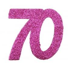 Confettis roses pour table d'anniversaire 70 ans