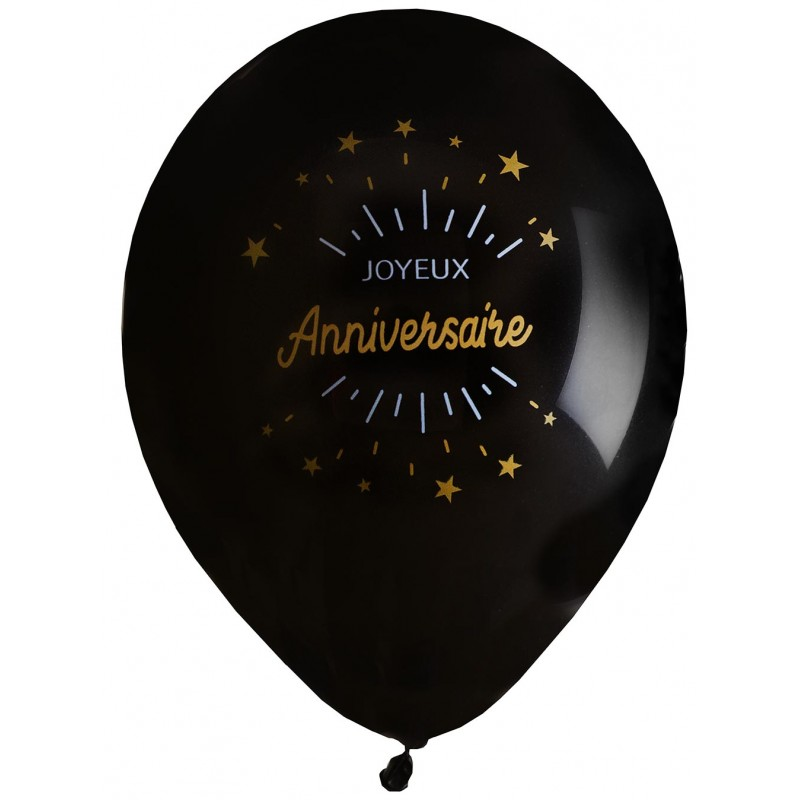Ballons pour anniversaire thème noir or