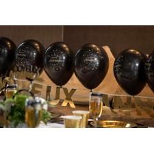 Ballons décoratifs noir et or pour anniversaire
