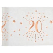 Chemin de table 20 ans pour anniversaire thème rose gold