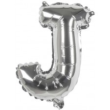 Ballon mylar en forme de lettre J argent
