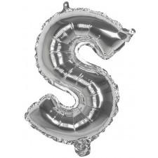 Ballon en forme de lettre S mylar couleur argent