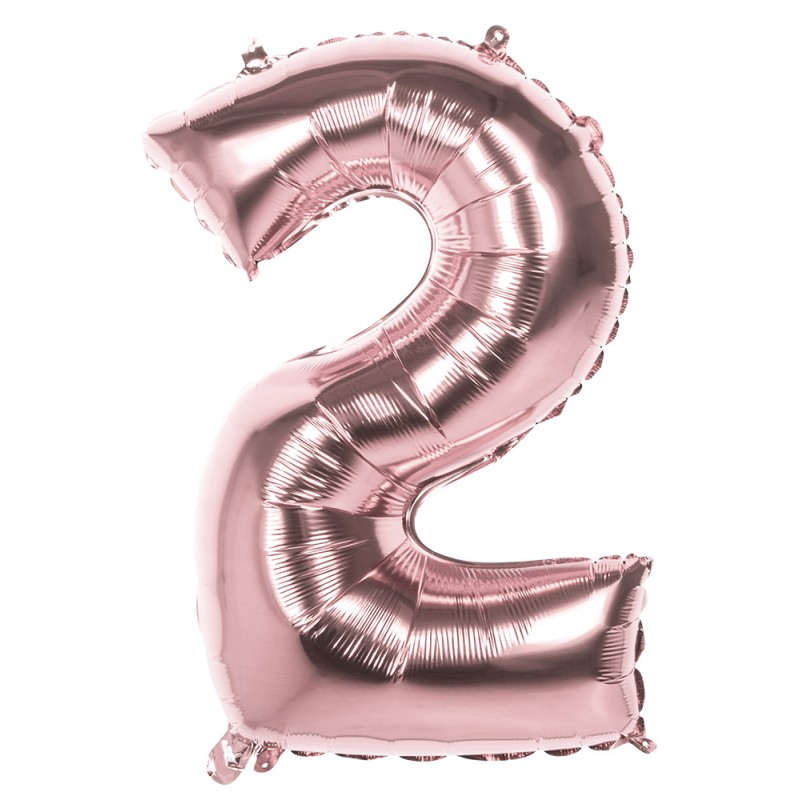 Ballon chiffre 2 alu couleur rose gold