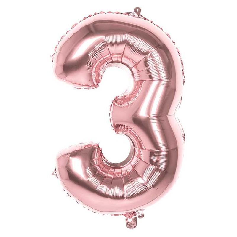 Ballon en forme de chiffre 3 rose gold en alu