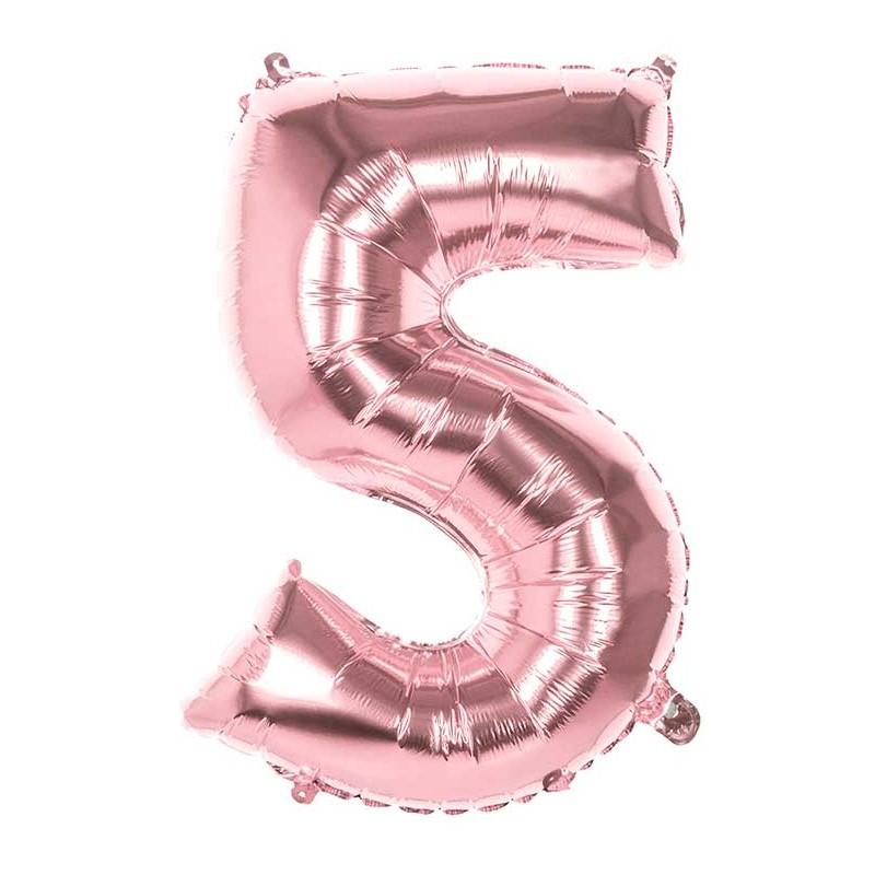 Ballon alu en forme de chiffre 5 rose gold de 86 cm gonflable à l'hélium