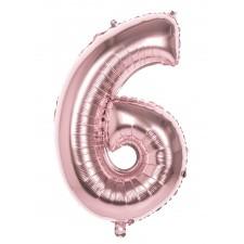 Ballon alu chiffre 6 rose gold gonflable à l'hélium