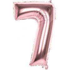 Ballon en forme de chiffre 7 rose gold 86 cm gonflable à l'hélium