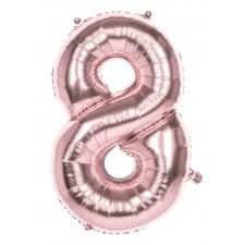 Ballon chiffre 8 rose gold 86 cm gonflable à l'air et à l'hélium