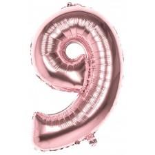 Ballon en forme de chiffre 9 rose gold mylar gonflable à l'hélium