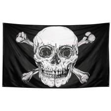 Drapeau thème pirate géant avec tête de mort 300x200cm