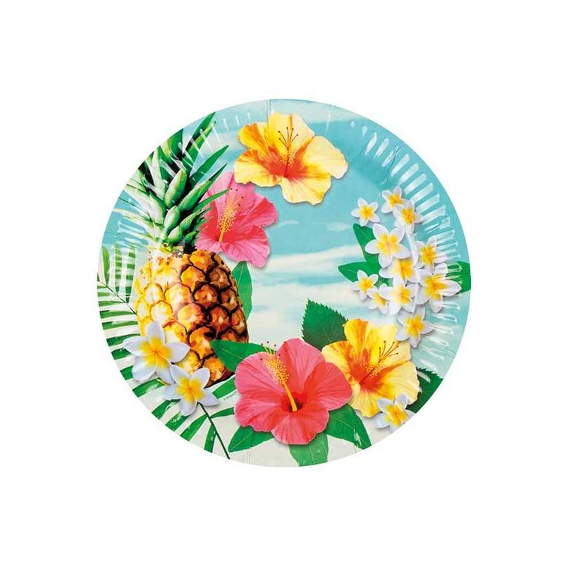 Assiettes en carton sur le thème Hawaï
