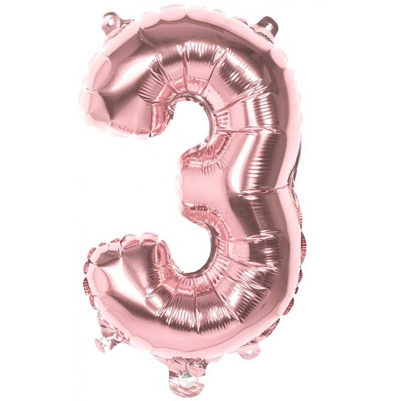 Petit ballon en forme de chiffre 3 mylar rose gold de 36 cm