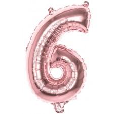 Ballon en forme de chiffre 6 de 36 cm rose gold en alu