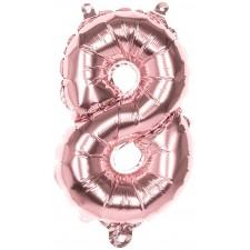 Ballon rose gold en forme de chiffre 8 en alu 36 cm