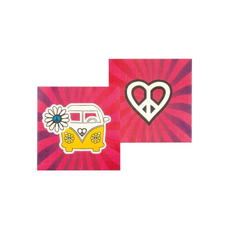 Serviettes en papier thème hippie peace and love