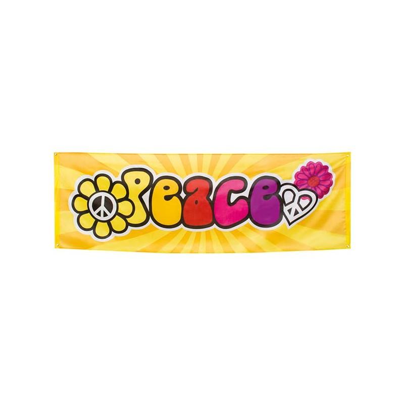 Banderole hippie avec fleurs peace and love