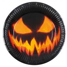 Assiettes en carton Halloween avec citrouille maléfique effrayante