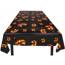 Nappe pour décoration Halloween avec des citrouilles maléfiques